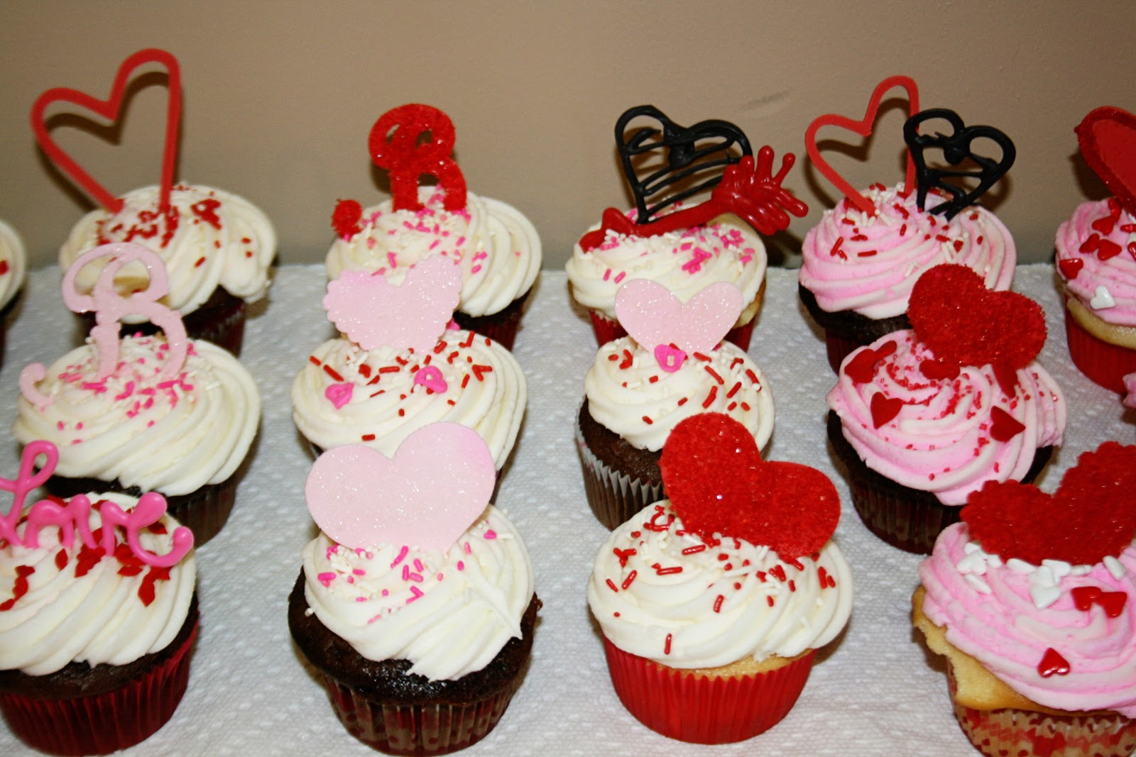 Cakes By Kim Pink and Red Wedding Cupcakes