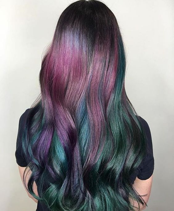 Trendy Oil Slick Coloring Girls Dark Hair