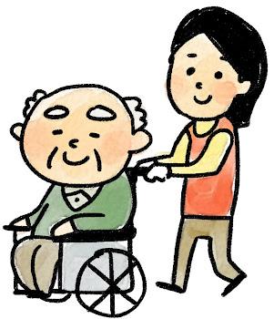 車椅子に乗ったおじいさんのイラスト(介護)