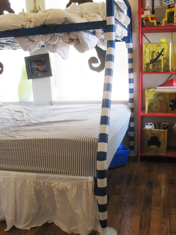 Beachy Whimsy! I Love It And The Kids Liked It Too. The Tape Covers Up Some  Of The Scuffs In The Blue Finish And Lightens The Look Of The Bed A Bit.