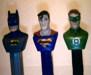 Close up of Justice League PEZ trio