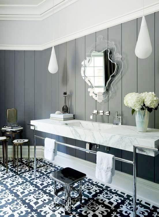 Gray Tile Floor Living Room