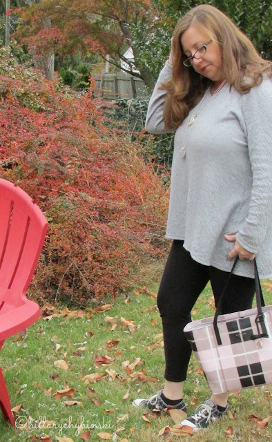 Leggings and Tunic Casual Weekend Outfit, Styled with a Kate Spade Bag