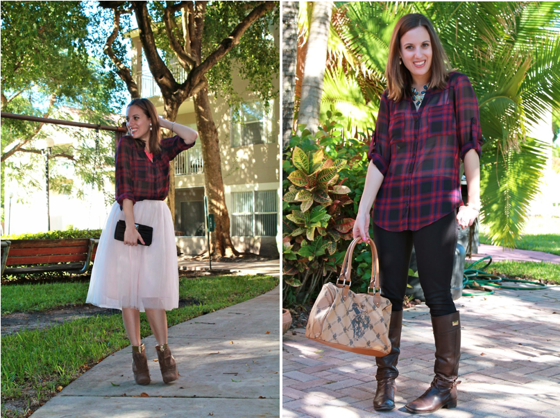 two ways to wear, how to wear, plaid shirt, Anthropologie, Abercrombie & Fitch, Michael Antonio, forever 21, nordstrom, Ralph Lauren, Express, Macy's, Modcloth, tulle skirt, skinnies, style blog, fashion blog, style, fashion