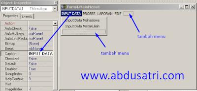 cara koneksi menu delphi dengan form