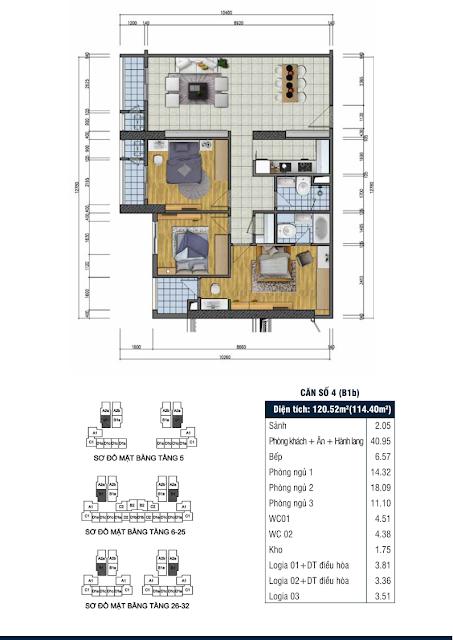 Thiết kế căn hộ số 4 - Chung cư Goldsilk Complex Vạn Phúc