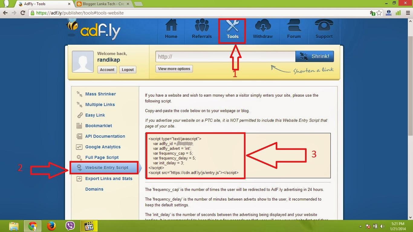 Website Entry Script Adfly