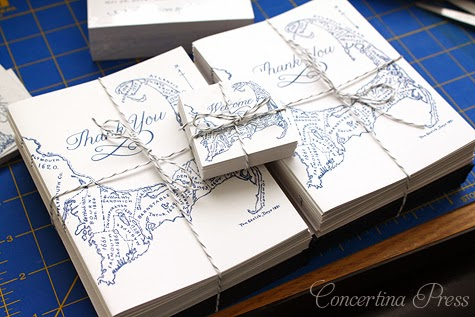 Cape Cod Map thank you notes and welcome tags by Concertina Press