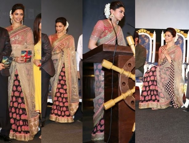 Deepika Padukone Half Net Saree At Kochadiiyan Film Audio Launch