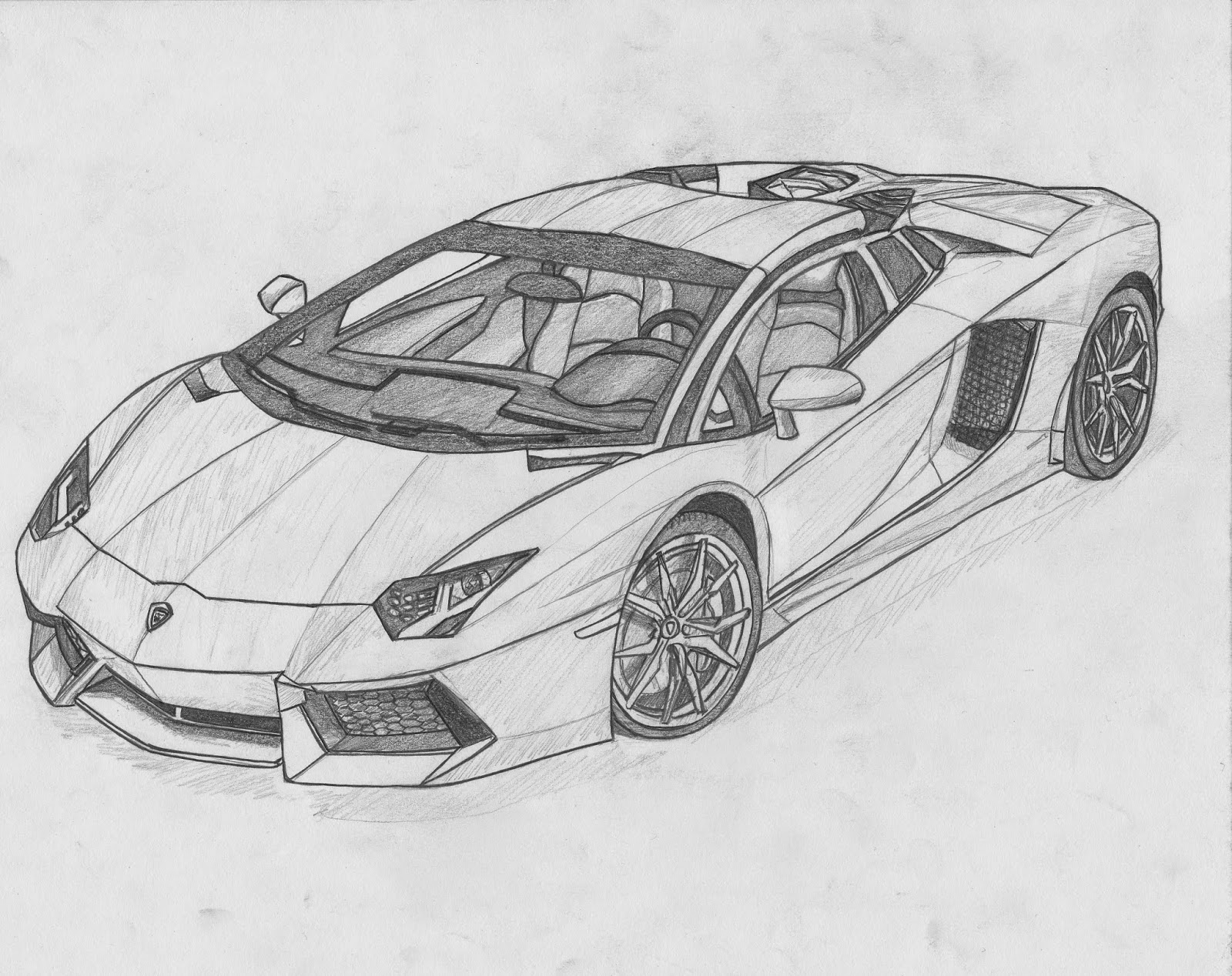 Black And White Lamborghini Drawing Viewing Gallery