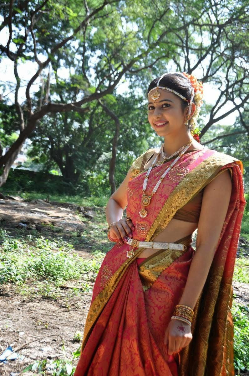 Beautiful Rakul Preet Singh In Loukhyam,Pink and White Saree