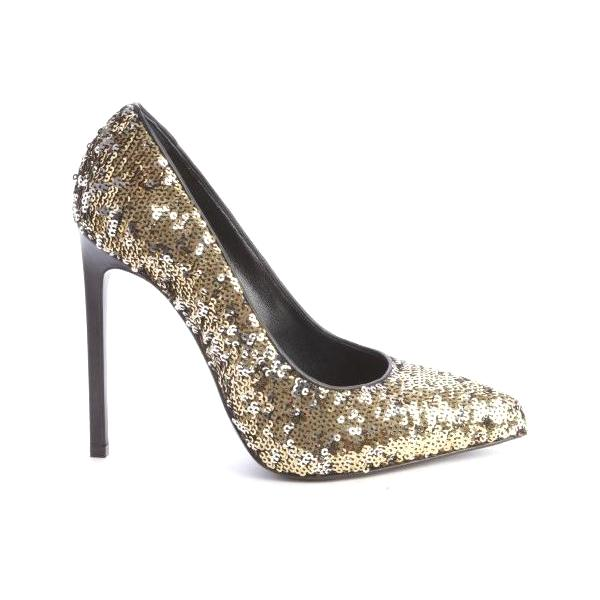 SAINT LAURENT Gold Sequin Pumps - Crown Princess Victoria