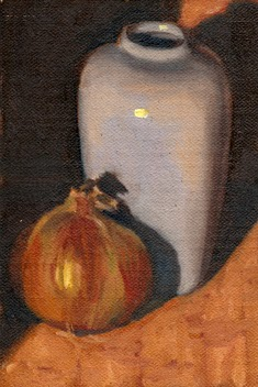 Oil painting of a brown onion beside the base of a white porcelain vase.