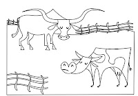 Steer and cow in animals coloring book by Robert Aaron Wiley for Microsoft Office Online