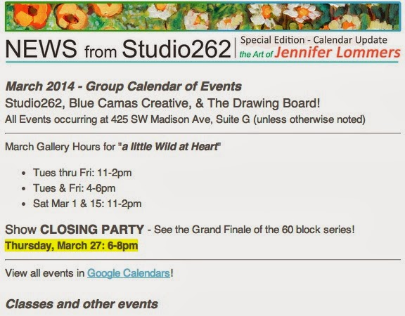 Studio262 March Newsletter