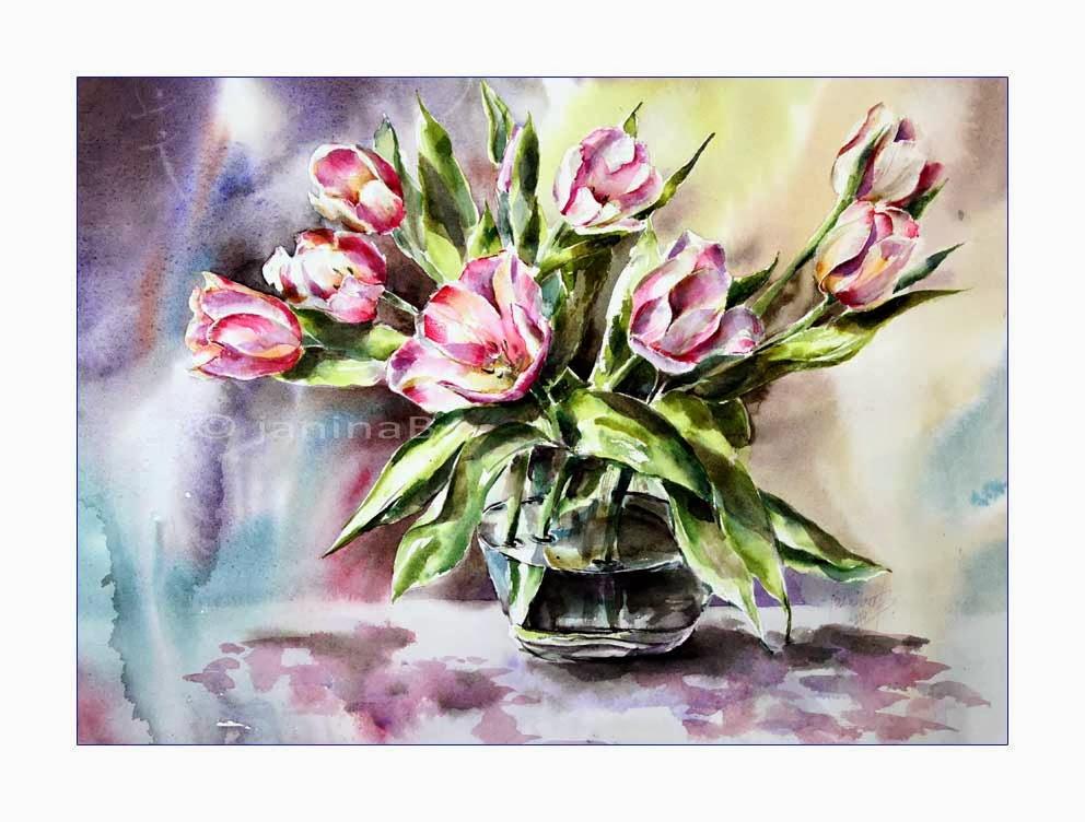 aquarellzauber tulpen in der vase. Black Bedroom Furniture Sets. Home Design Ideas