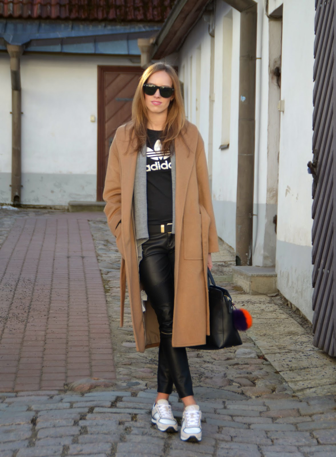 winer-outfit-camel-coat-leather-pants-adidas-tshirt