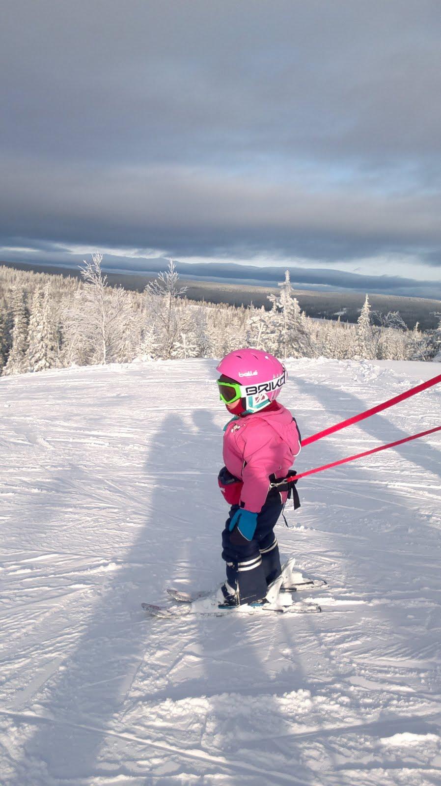 2-vuotias Roosa-Ilona laskettelee