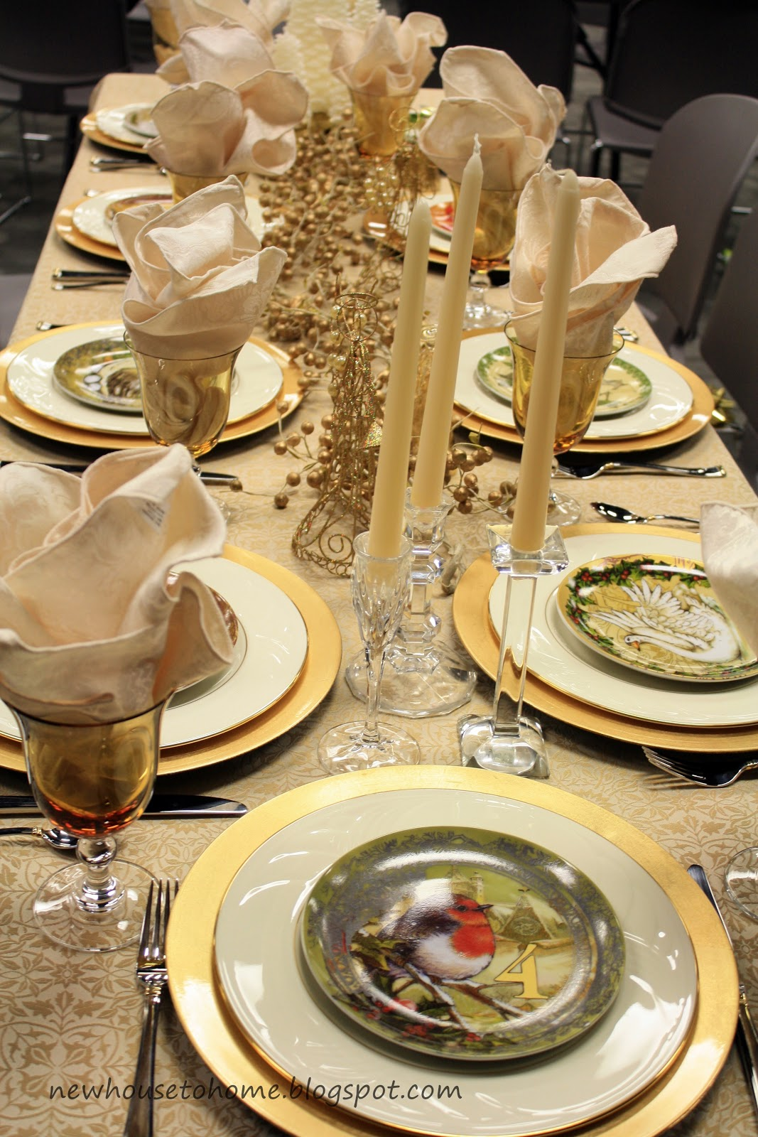 Christmas Table Decoration Ideas Gold : Gold holiday table decor photograph christmas d