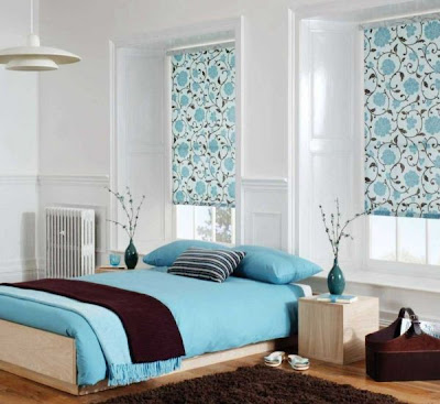 diseño dormitorio celeste blanco