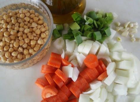 Ingredientes para la elaboración de la crema de garbanzos