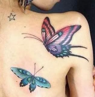 Tattoo de borboleta feminina no ombro