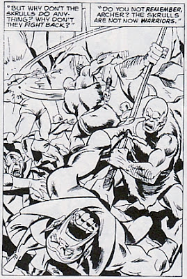 The Kree kill the Skrulls. The origin of the Kree, Avengers #133
