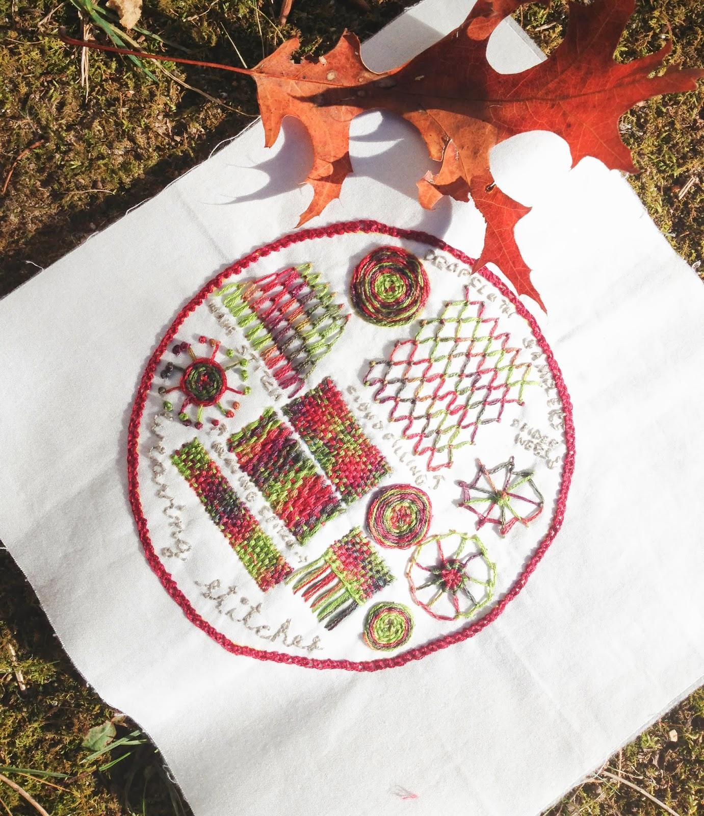 Drop cloth weaving stitches sampler