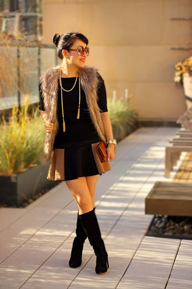 Ann Taylor black sweater with Sabine faux fur vest and Zara two-tone mini skirt