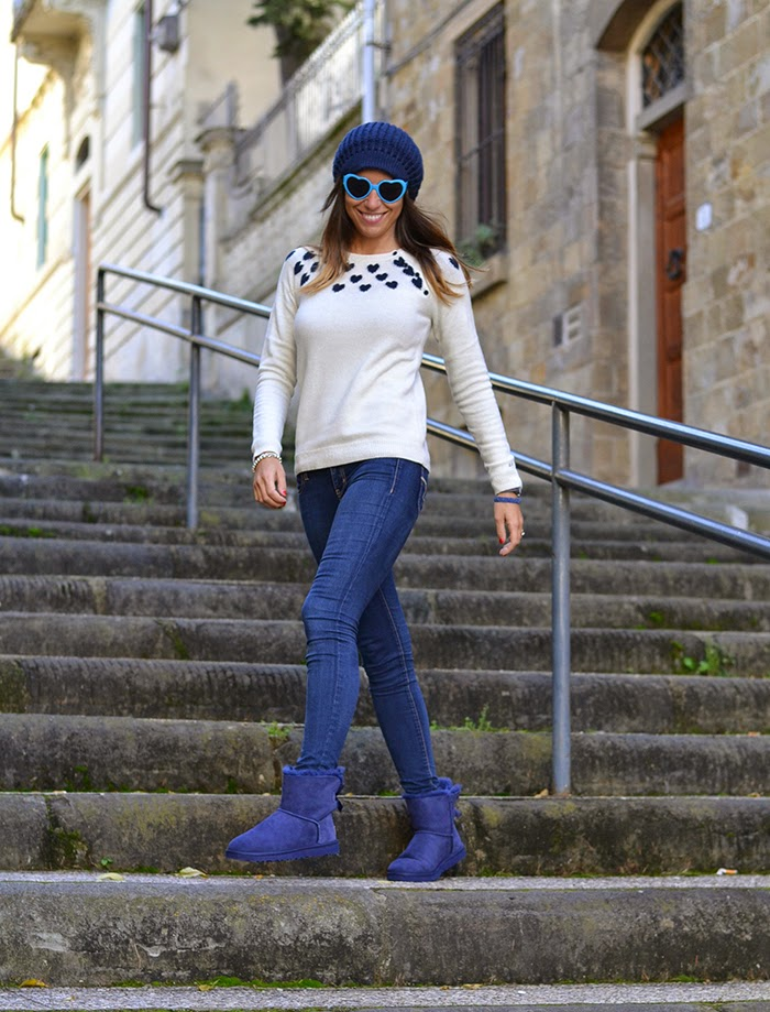 white blue hearts sweater