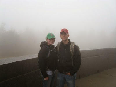 Mt Greylock summit at base of War Memorial with Fog rolling in