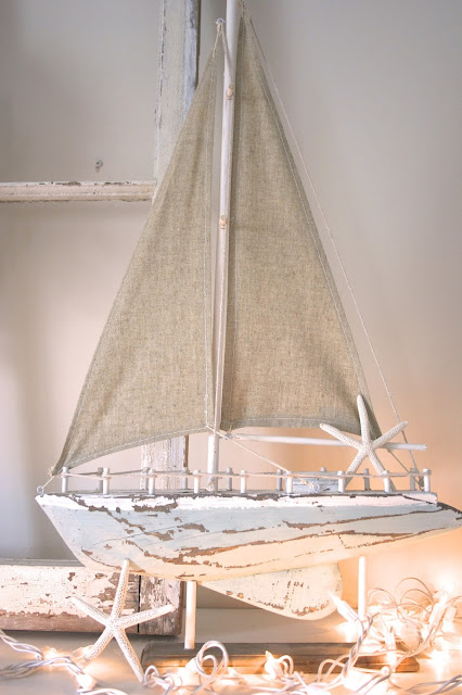 Wooden Sailboat - Budget Living Room / Dining Room Makeover Reveal! - Nest of Bliss