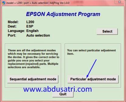 langkah-langkah reset epson L200 dan L100