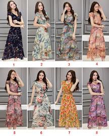 8-Design New 2016 Spring Print Short Sleeve Flare Past Knee Length Chiffon Dress