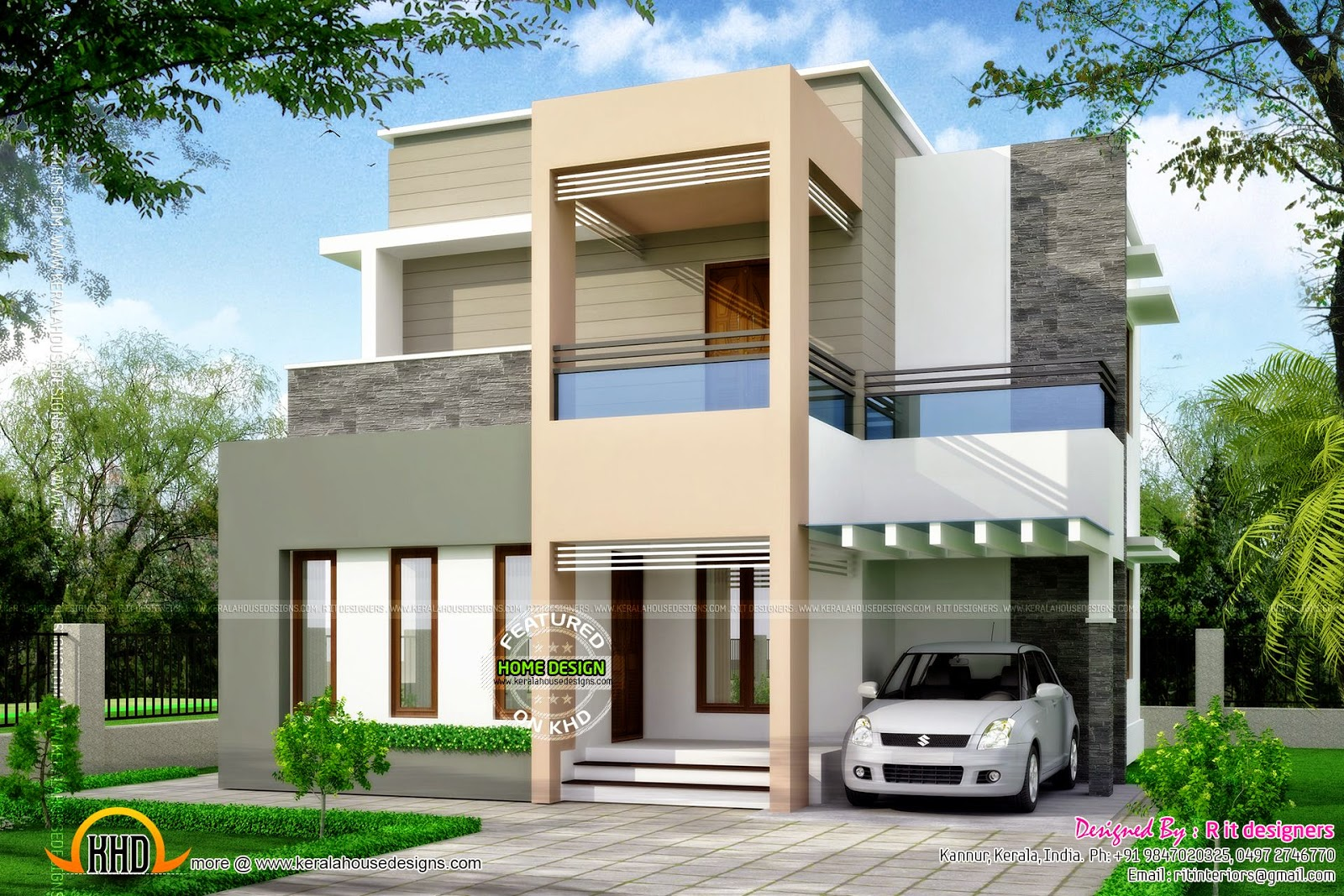 Clean box type house exterior kerala home design and for Type of floors in houses