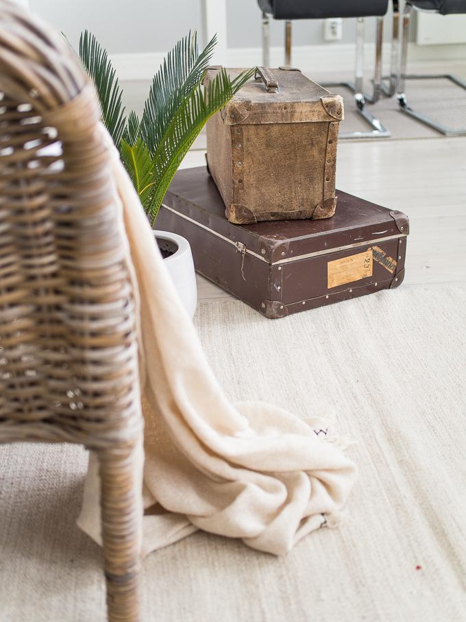 vanhat matkalaukut sisustuksessa