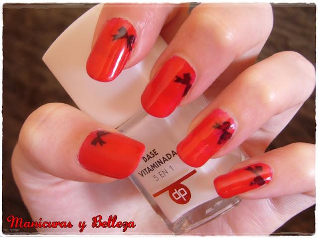 desafio nail art abril rojo negro lazos degradado 2