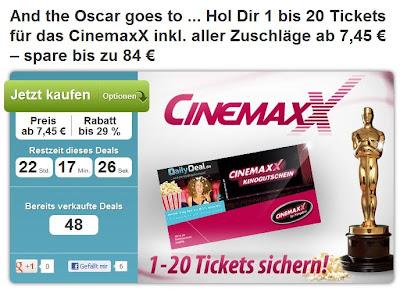 DailyDeal: Verschiedene Gutscheine für CinemaxX (Kino, Popcorn, Softdrink)