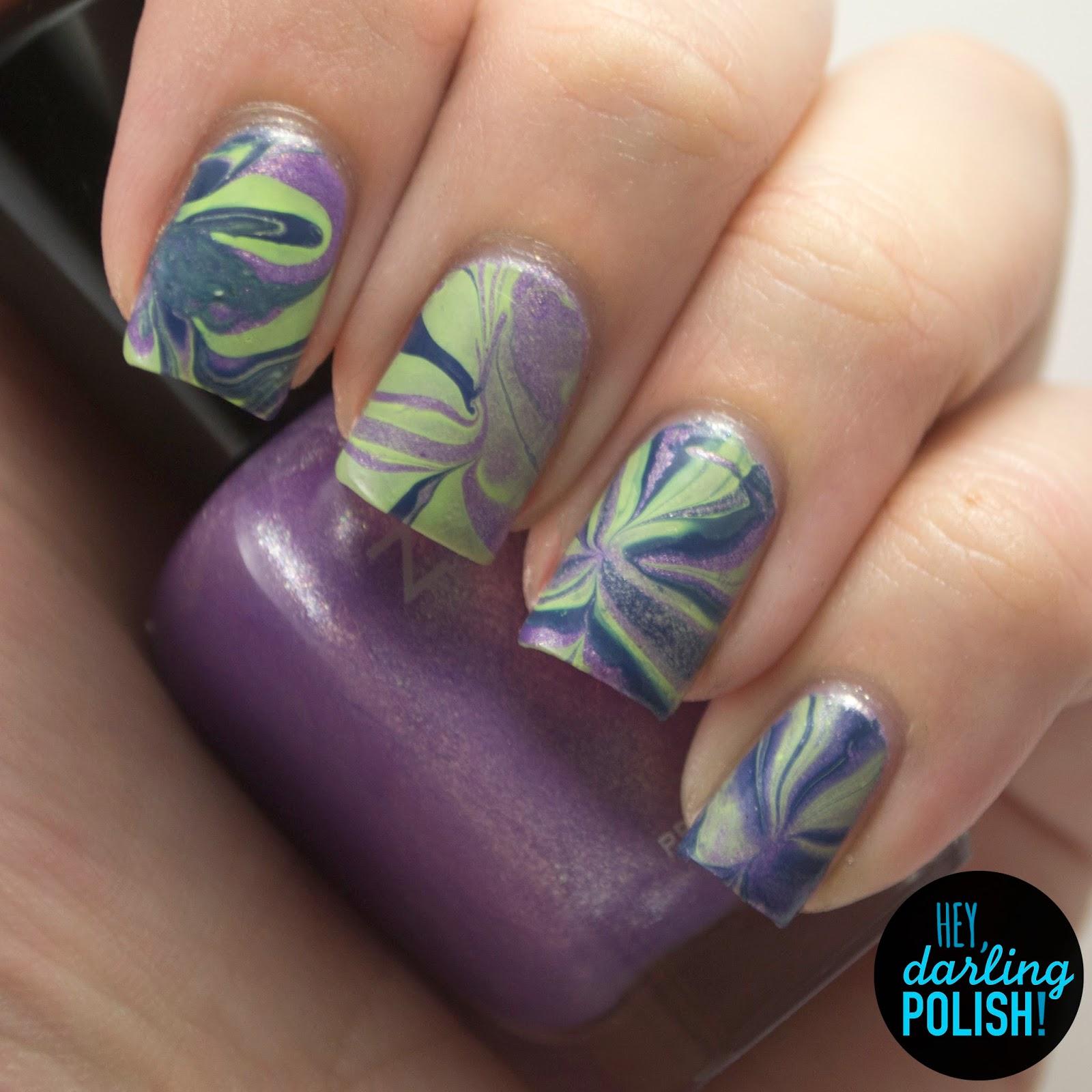 nails, nail art, nail polish, polish, purple, green, blue, watermarble, hey darling polish,