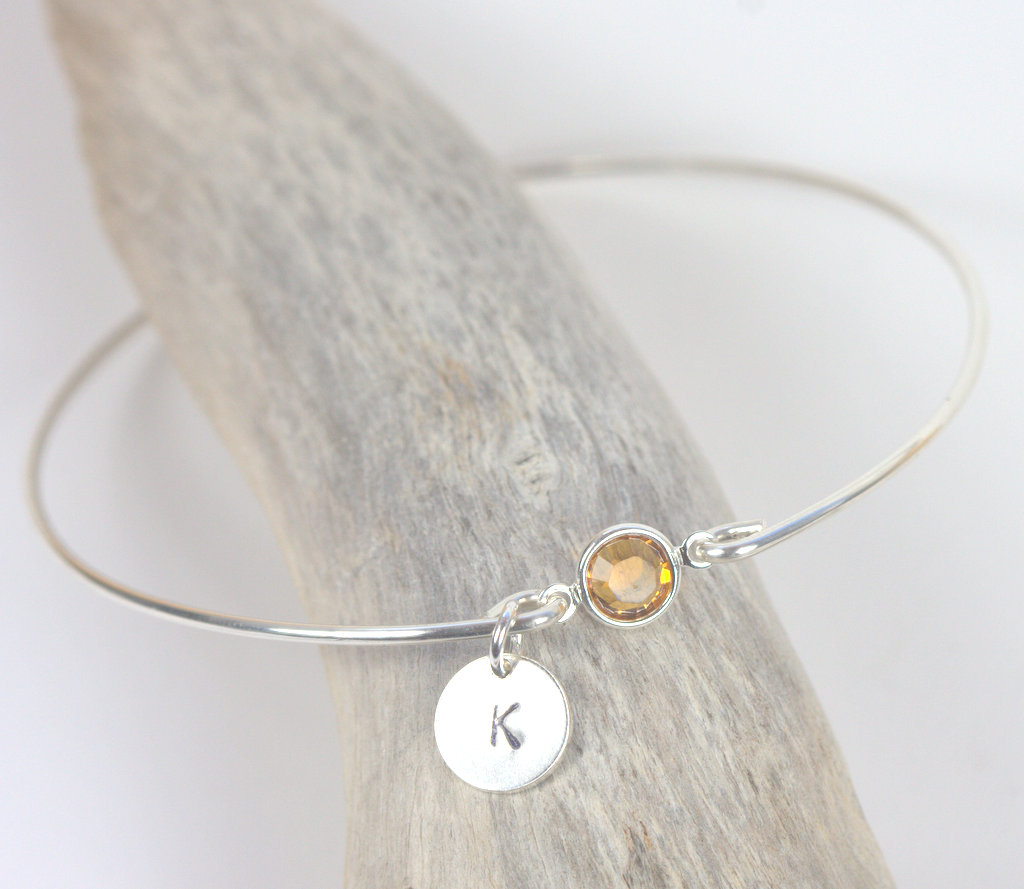 Personalized Sterling Silver Birthstone Bangle