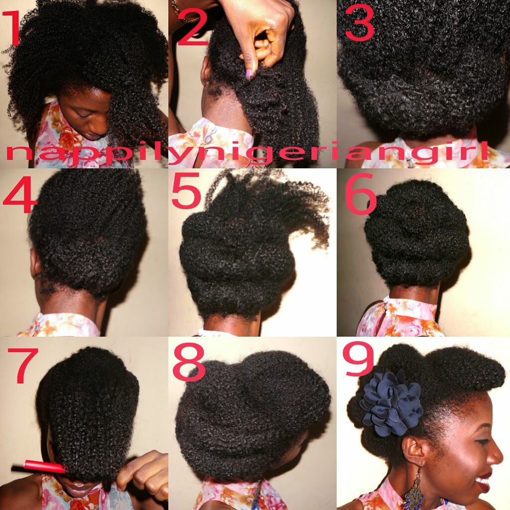 NATURAL HAIRSTYLE PICTORIAL THE HORIZONTAL ROLL AND TUCK