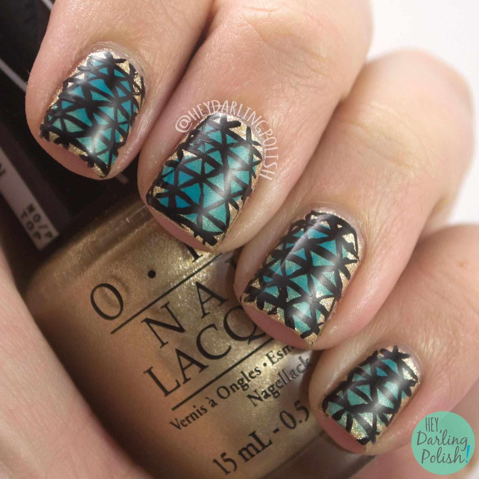 nails, nail art, nail polish, triangle, geometric, hey darling polish, gold, blue, the nail challenge collaborative