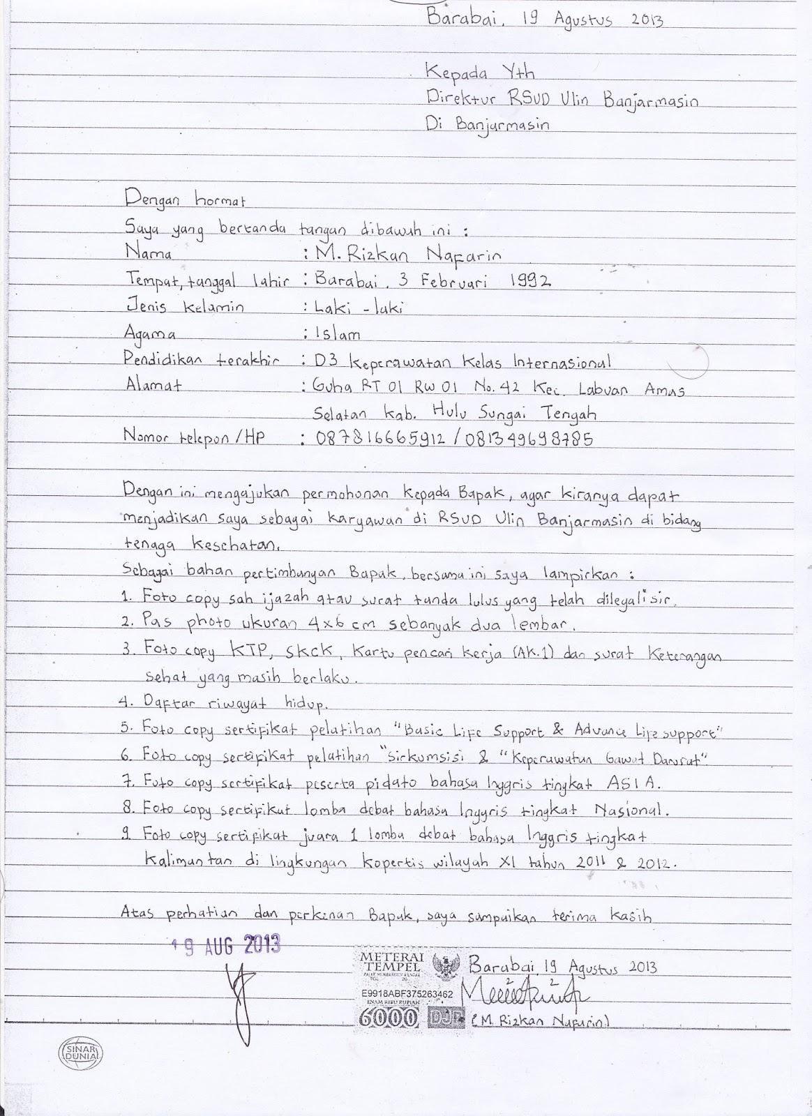 Contoh Surat Lamaran Kerja Tulis Tangan Guild Jobs