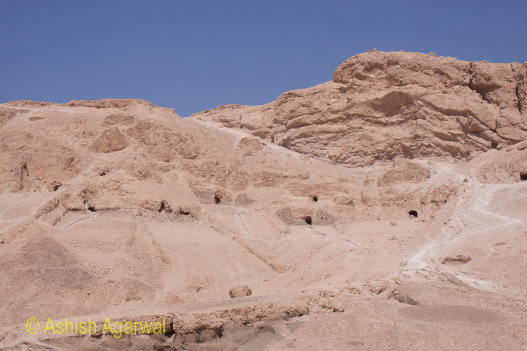 Caves all around the Hatshepsut mortuary temple complex, in the limestone cliffs