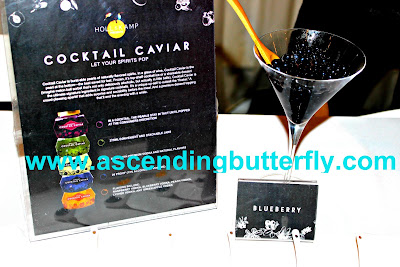 Holland Kamp's Cocktail Caviar on display at Getting Gorgeous 2015 New York City, blueberry flavor cocktail caviar