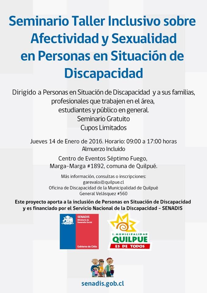 """SEMINARIO TALLER INCLUSIVO """"Sexualidad y afectividad en Personas en situación de Discapacidad"""