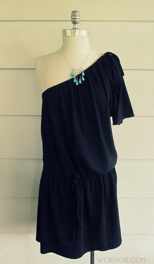 Wobisobi one shoulder tee shirt dress diy for Make a dress shirt