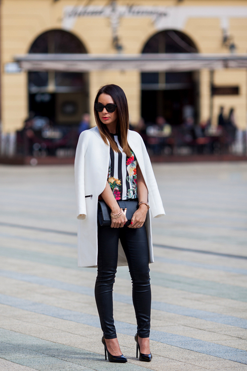 White long jacket, black pants and flowery shirt for ladies