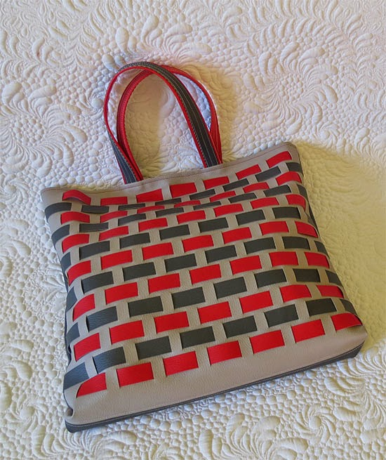 Faux leather woven bag