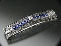 148:中古 PT900 サファイア計2.38ct ダイヤモンド計0.48ct 唐草萌 帯留